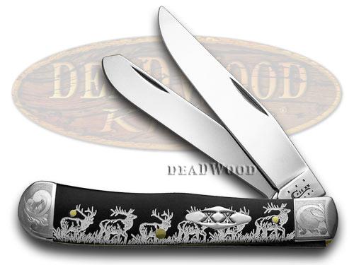 Case xx Elk Walking Black Delrin 1/500 Trapper Pocket Knife Knives