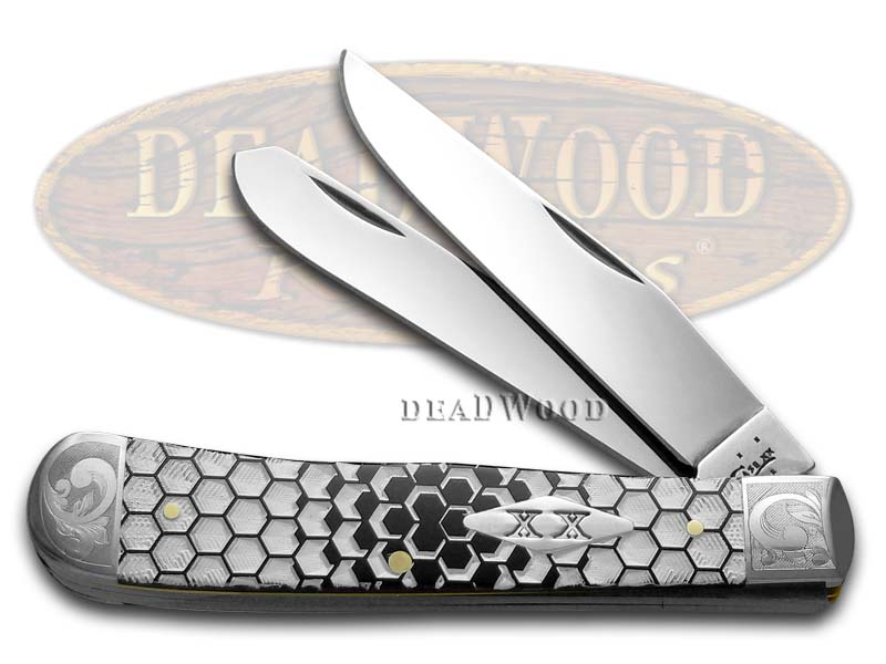 Case xx White Honeycomb Black Synthetic Delrin Scrolled Bolster Trapper 1/150 Pocket Knife