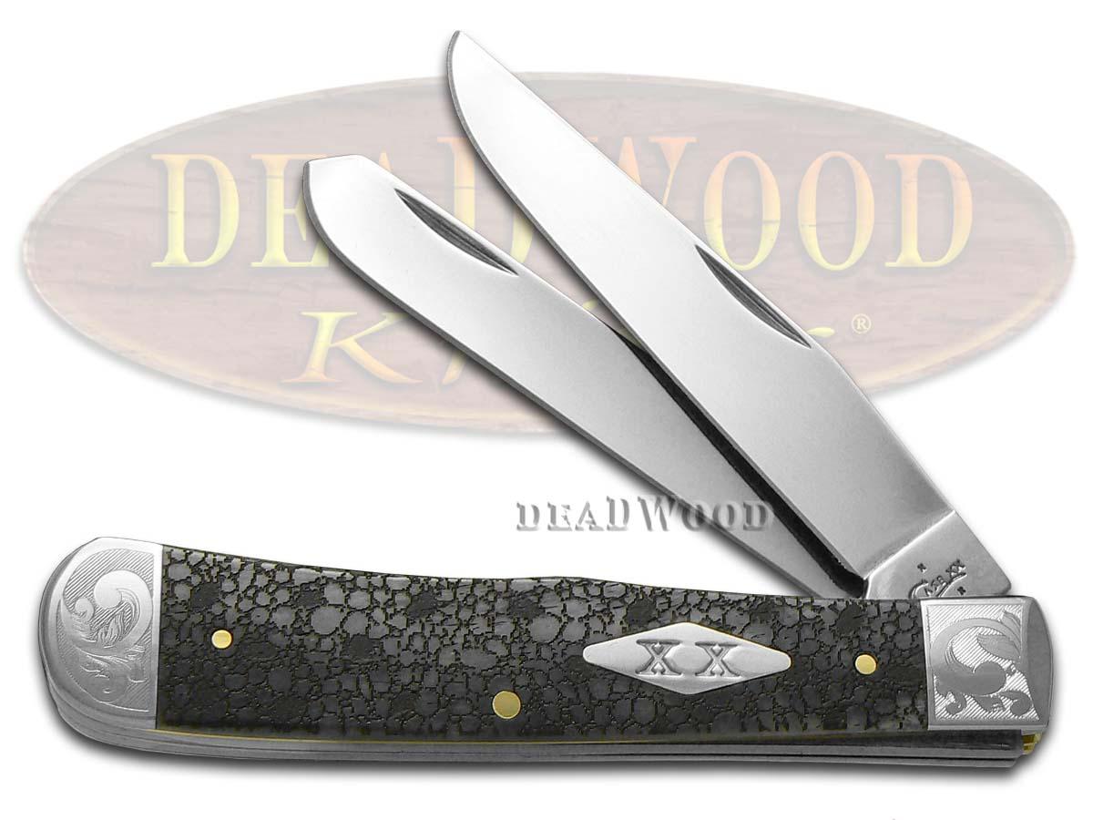Case xx Lizard Skin Gray Bone Scrolled Trapper Stainless Pocket Knife Knives
