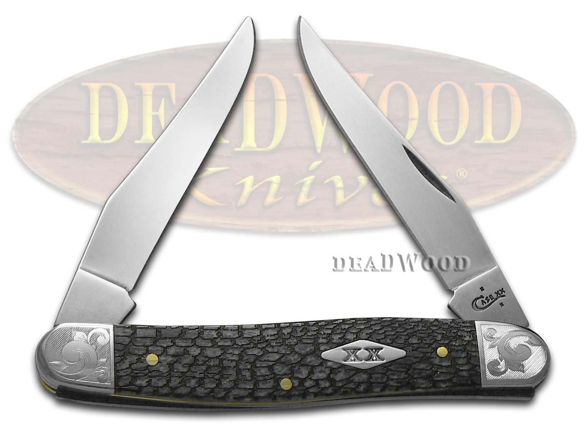 Case xx Alligator Skin Gray Bone Scrolled Muskrat Stainless Pocket Knife Knives