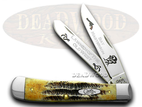 Case xx Collector's Bat Masterson 1/600 Trapper Bone Stag Pocket Knife