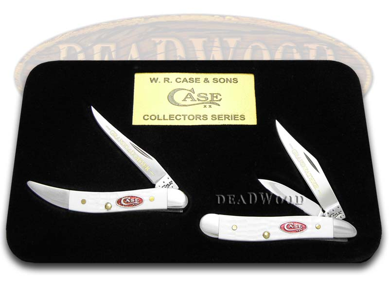 Case xx Grandfather Granddaughter Jigged White Delrin Peanut & Toothpick 1/600 Stainless Knives