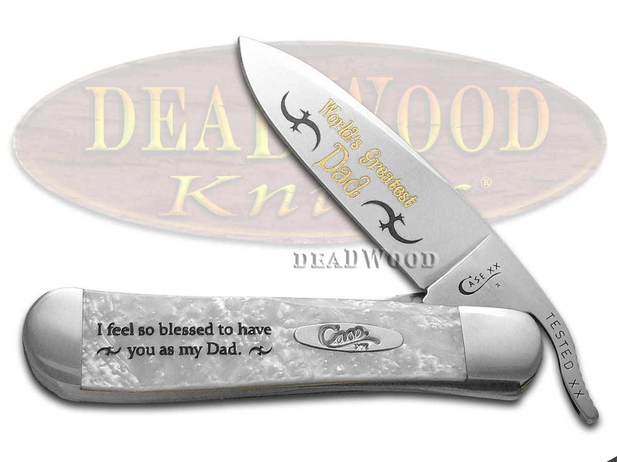 Case xx Worlds Greatest Dad White Pearl Corelon Russlock Stainless Pocket Knife