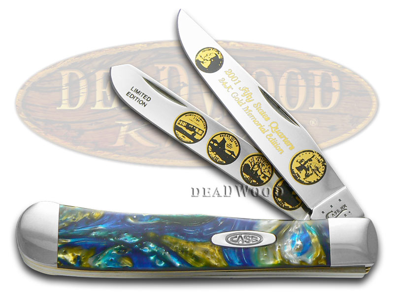 Case xx 2001 State Quarter Gold Series Trapper 1/3000 Stainless Pocket Knife Set