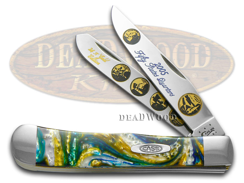 Case xx 2005 State Quarter Gold Series Trapper 1/3000 Stainless Pocket Knife Set