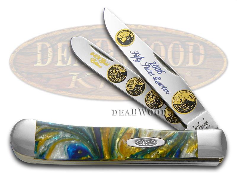Case xx 2006 State Quarter Gold Series Trapper 1/3000 Stainless Pocket Knife Set