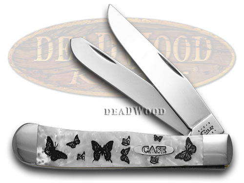Case xx Collector's Ed. Spring Time Butterfly White Pearl Trapper Pocket Knife Knives