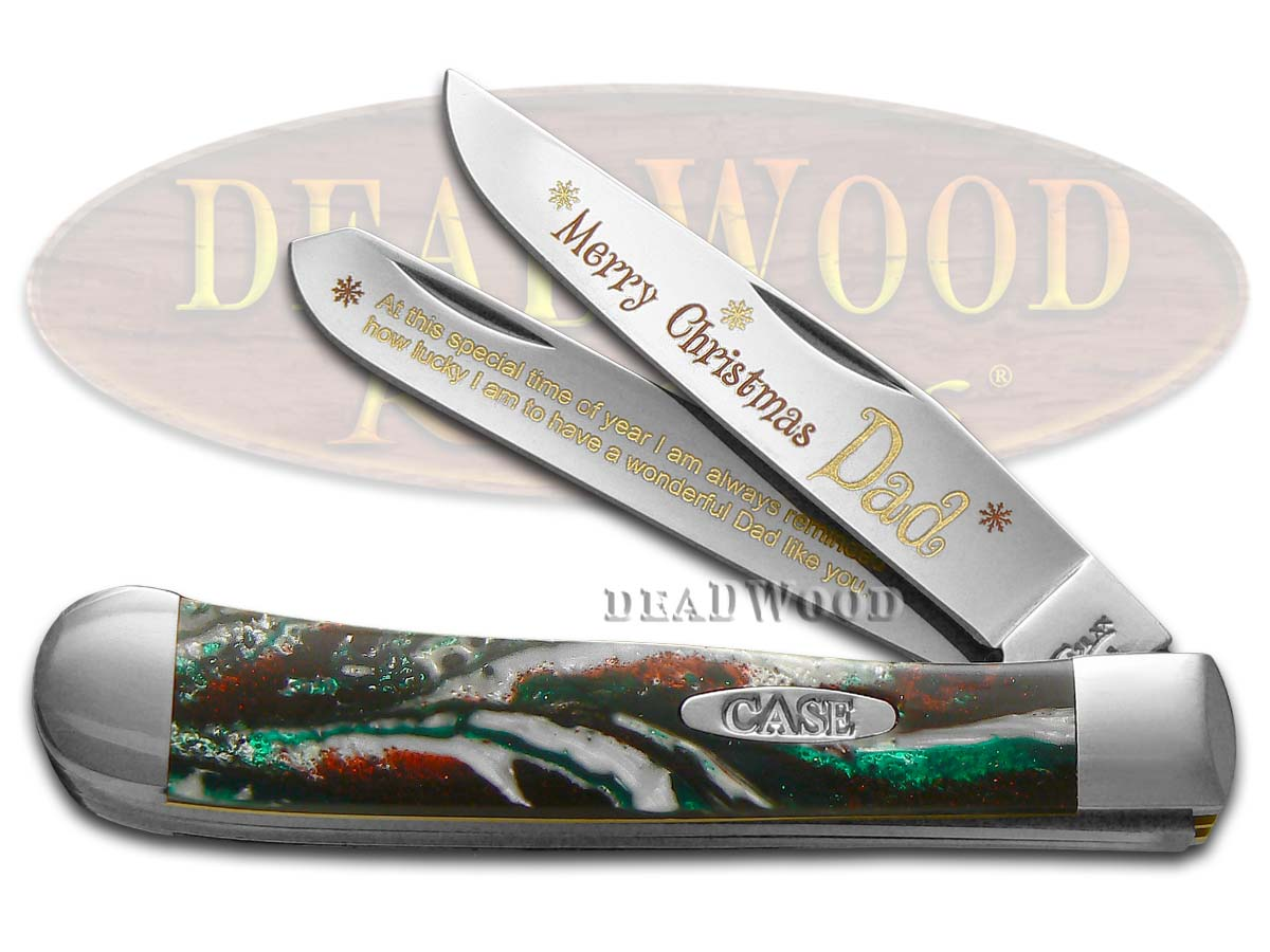 Case xx Merry Christmas Dad Corelon Trapper 1/500 Stainless Pocket Knife Knives