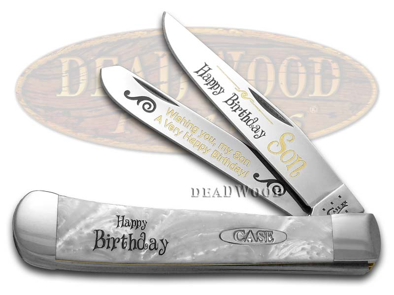 Case xx Happy Birthday Son Smooth White Pearl Corelon Trapper 1/999 Stainless Pocket Knife