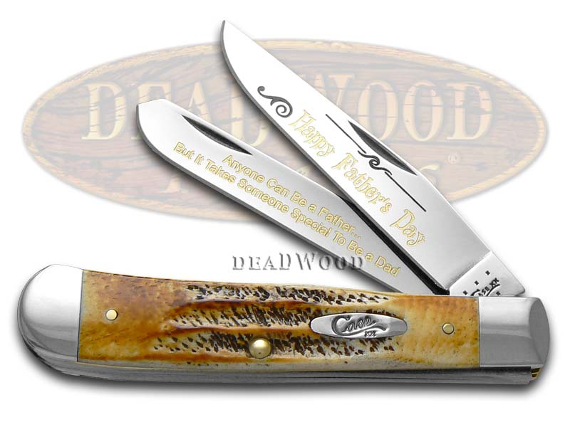 Case xx Happy Father's Day 6.5 Bone Stag Trapper 1/999 Stainless Pocket Knife Knives