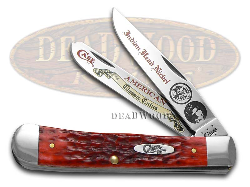 Case xx Indian Head Nickel Red Bone Trapper Stainless Pocket Knife Knives