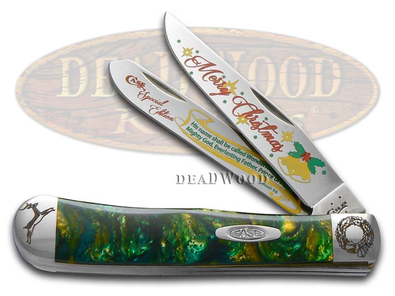Case xx Merry Christmas Smooth Cat's Eye Corelon Trapper Stainless Pocket Knife Knives