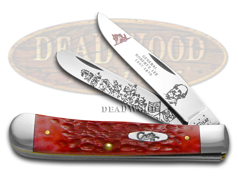 Case xx General Robert E. Lee Red Bone Trapper 1/2500 Stainless Pocket Knife Knives