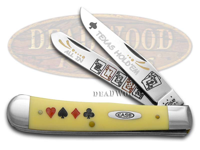 Case xx TEXAS HOLD'EM Yellow Trapper Pocket Knife Knives