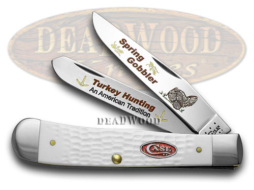 Case xx White Delrin Spring Gobbler Turkey Hunting 1/600 Trapper Pocket Knife Knives