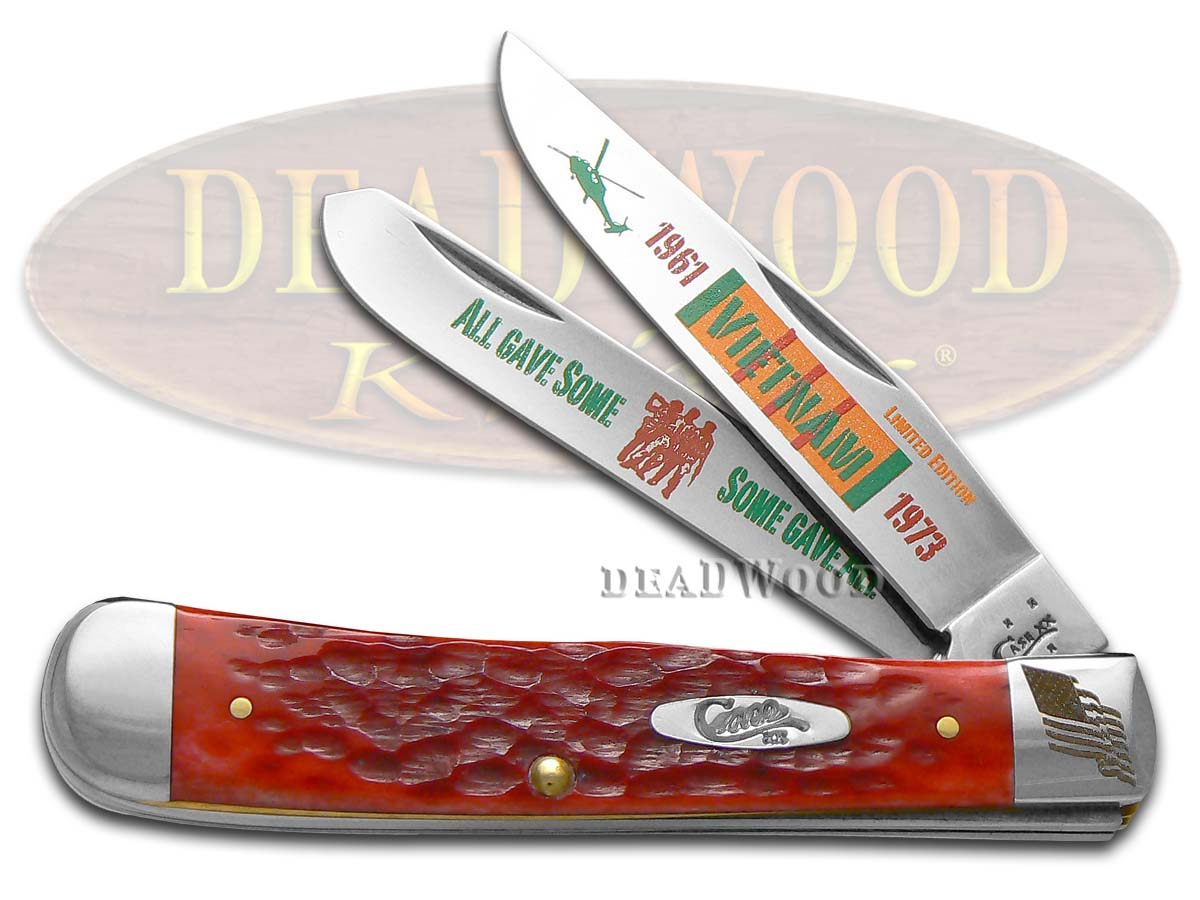 Case xx Vietnam Red Bone Trapper 1/3000 Stainless Pocket Knife Knives
