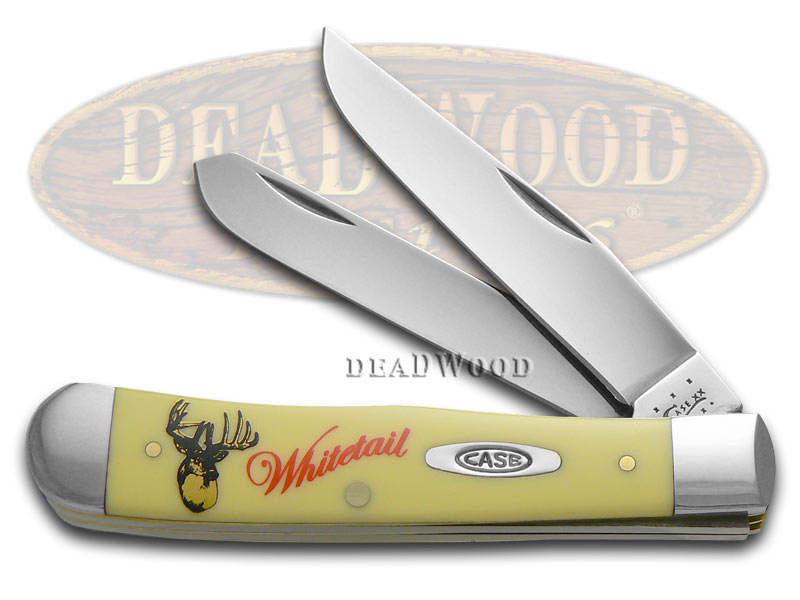 Case xx Whitetail Deer Yellow Delrin Trapper 1/2500 Stainless Pocket Knife Knives