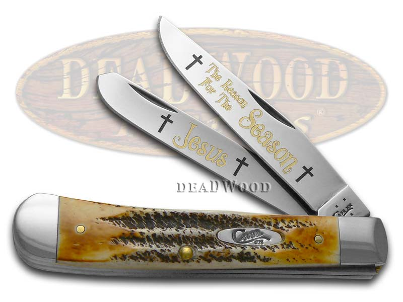 Case xx 6.5 Bone Stag The Reason For The Season Trapper 1/500 Stainless Pocket Knife Knives