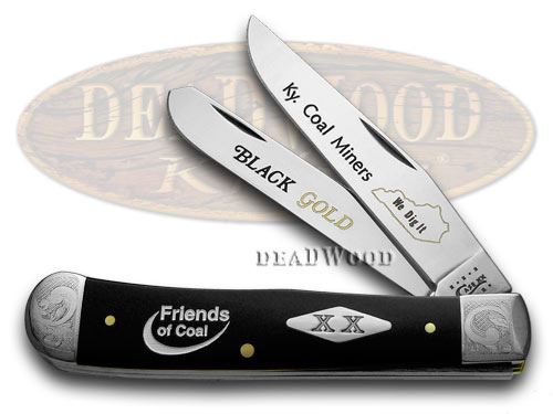 Case xx Collector's Friends of Coal Black Delrin 1/500 Trapper Pocket Knife Knives