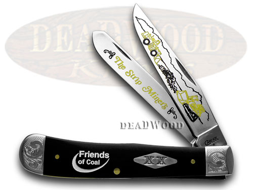 Case xx Collector's Friends of Coal Strip Miners Black Delrin Trapper 1/500 Pocket Knives
