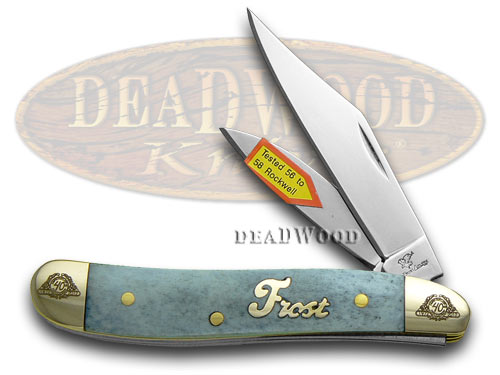 Frost Family 40th Anniversary Blue Smooth Bone 1/600 Little Peanut Pocket Knife Knives