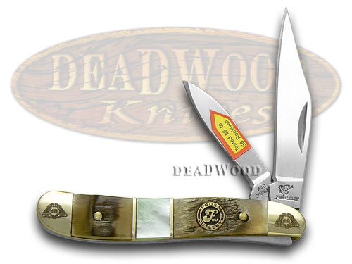 Frost Family 40th Anniversary Ram Horn and Mother Of Pearl 1/600 Peanut Pocket Knife Knives