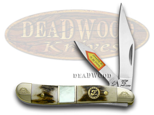 Frost Family 40th Anniversary Deer Stag and Mother Of Pearl 1/600 Peanut Pocket Knife Knives