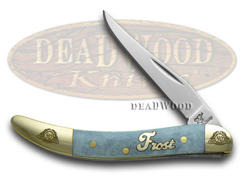 Frost Family 40th Anniversary Blue Smooth Bone 1/600 Toothpick Pocket Knife Knives