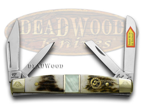 Frost Family 40th Anniversary Deer Stag and Mother Of Pearl 1/600 Congress Pocket Knife Knives