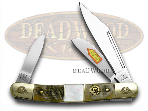 Frost Family 40th Anniversary Ram Horn and Mother Of Pearl 1/600 Stockman Pocket Knife Knives