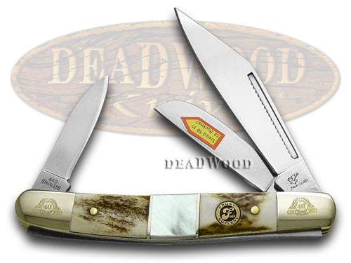 Frost Family 40th Anniversary Deer Stag and Mother Of Pearl 1/600 Stockman Pocket Knife Knives