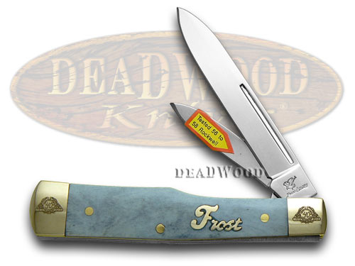 Frost Family 40th Anniversary Blue Smooth Bone 1/600 Gunstock Pocket Knife Knives