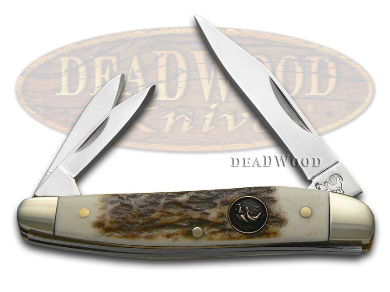 Hen & Rooster Genuine Deer Stag Whittler Stainless Pocket Knife Knives