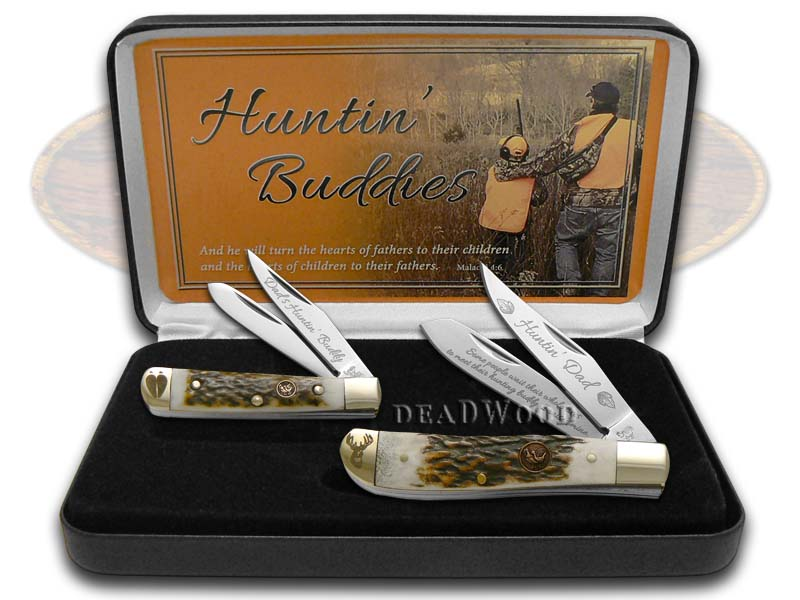 Hen & Rooster Huntin' Buddies Trapper And Tiny Trapper 1/1000 Stainless Pocket Knife Knives Set