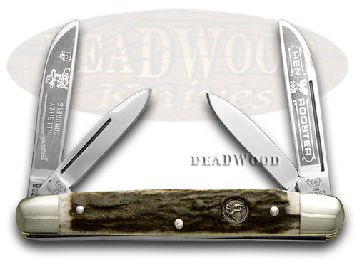 Hen & Rooster Genuine Deer Stag Hillbilly Congress Pocket Knife Knives