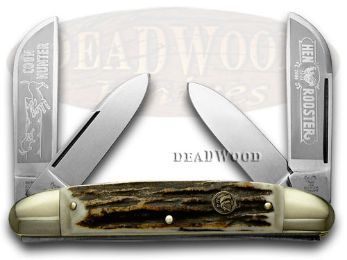 Hen & Rooster Genuine Deer Stag Coon Hunter Congress Pocket Knife Knives