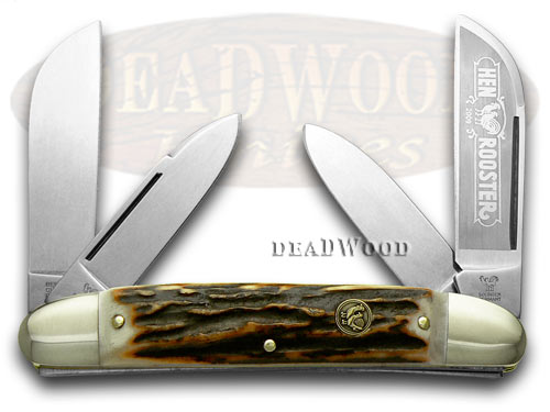 Hen & Rooster Genuine Deer Stag Large Congress Pocket Knife Knives