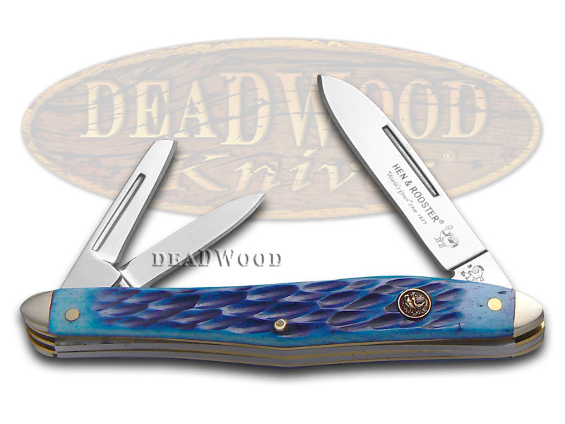 Hen & Rooster Jigged Blue Bone Whittler Stainless Pocket Knife Knives