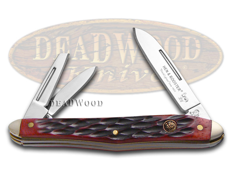 Hen & Rooster Jigged Red Bone Whittler Stainless Pocket Knife Knives