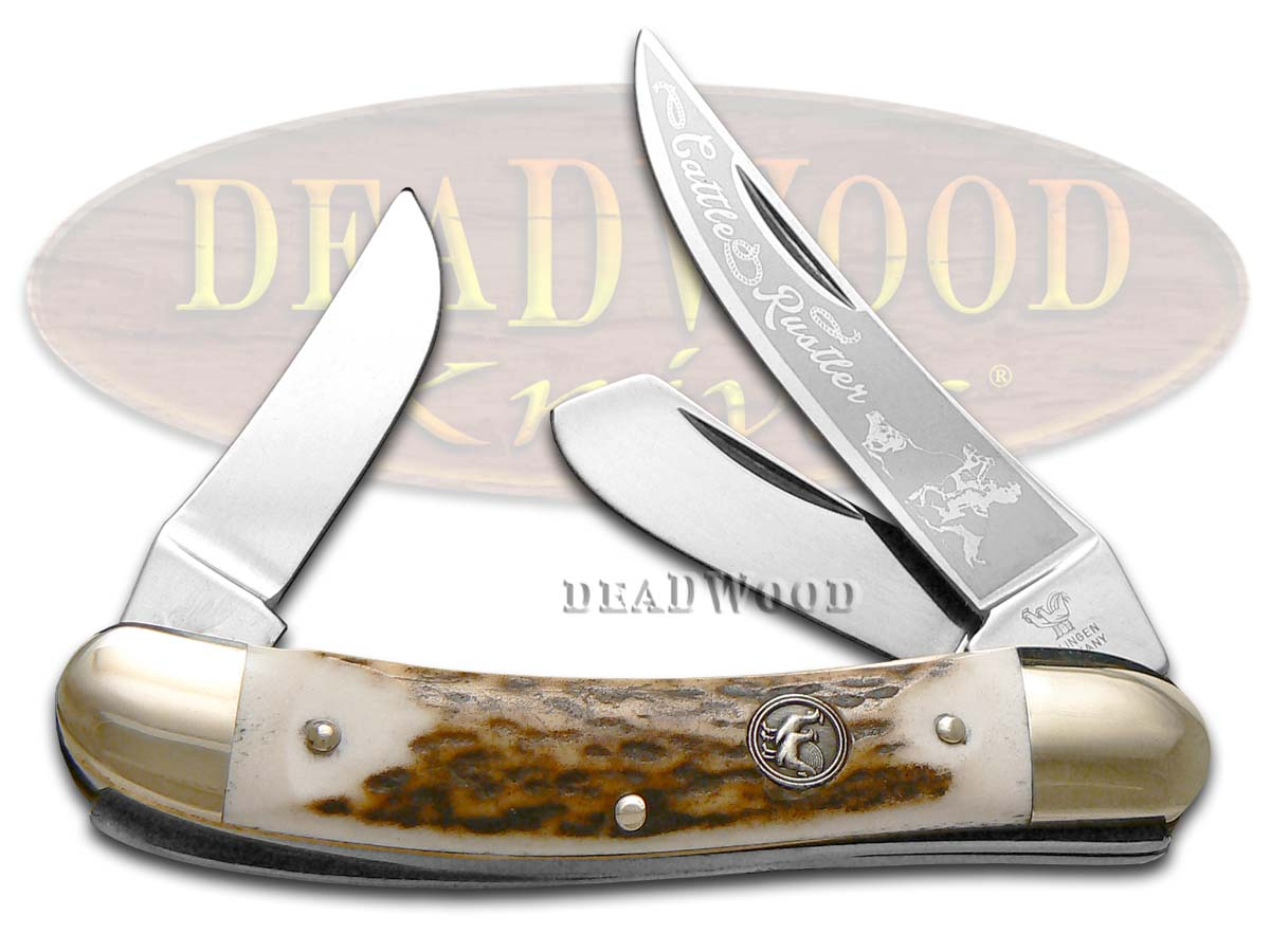 Hen & Rooster Genuine Deer Stag Cattle Rustler Little Sowbelly Stainless Pocket Knife