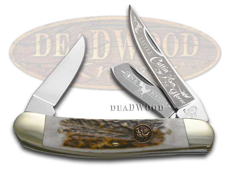Hen & Rooster Little Cuttin' Horse Deer Stag Sowbelly Stainless Pocket Knife Knives