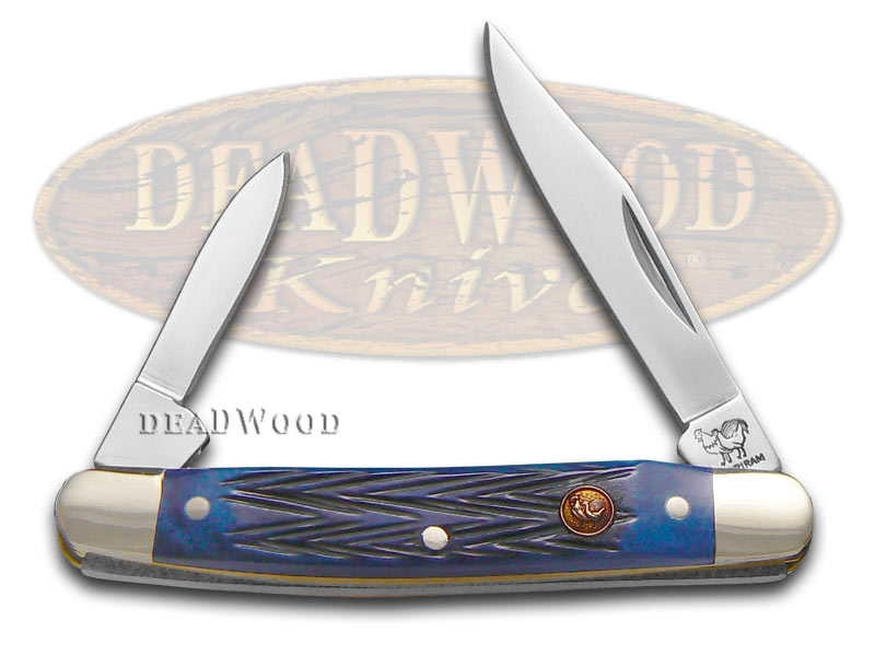 Hen & Rooster Jigged Blue Bone Pen Stainless Pocket Knife Knives