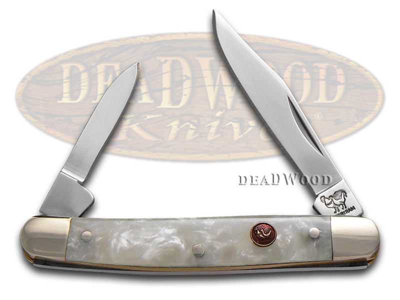 Hen & Rooster Cracked Ice Celluloid Pen Stainless Pocket Knife Knives
