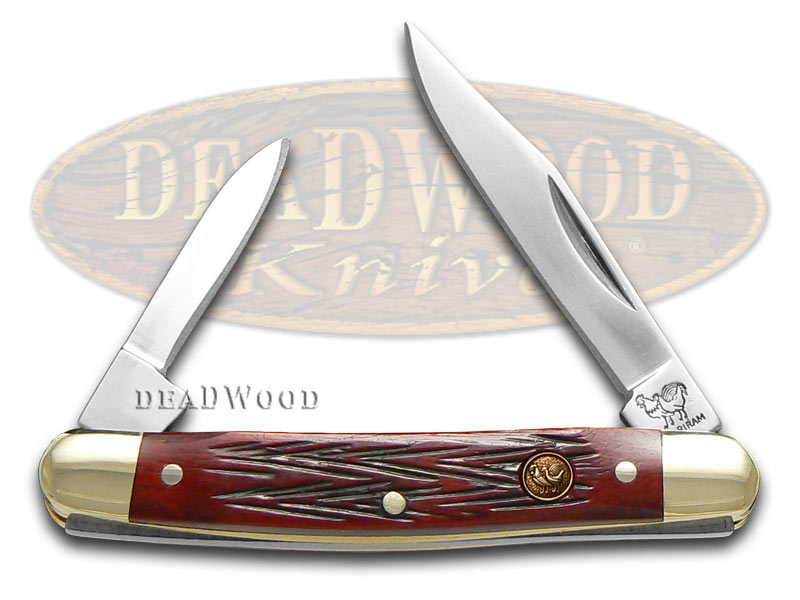 Hen & Rooster Red Picked Bone Pen Pocket Knife Knives