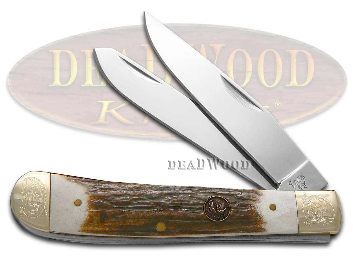 Hen & Rooster Genuine Deer Stag Engraved Bolsters 1/500 Trapper Pocket Knife Knives