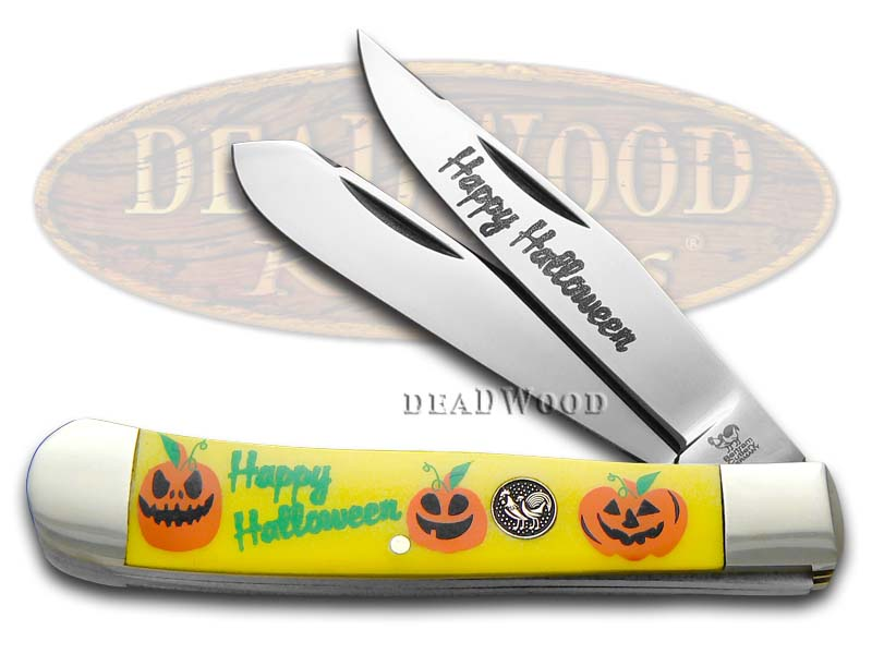 Hen & Rooster Happy Halloween Yellow Delrin Trapper Stainless Pocket Knife Knives