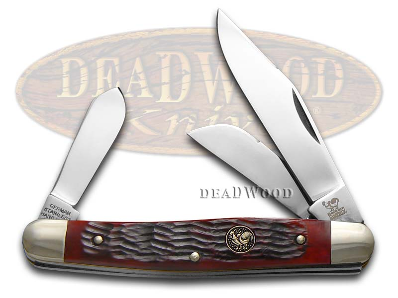 Hen & Rooster Red Pickbone Stockman Stainless Pocket Knife Knives