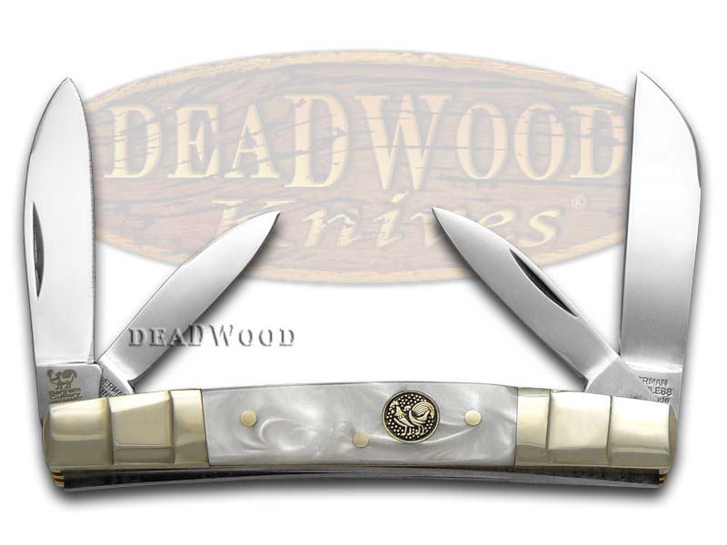 Hen & Rooster Smooth Cracked Ice Celluloid Congress Stainless Pocket Knife Knives
