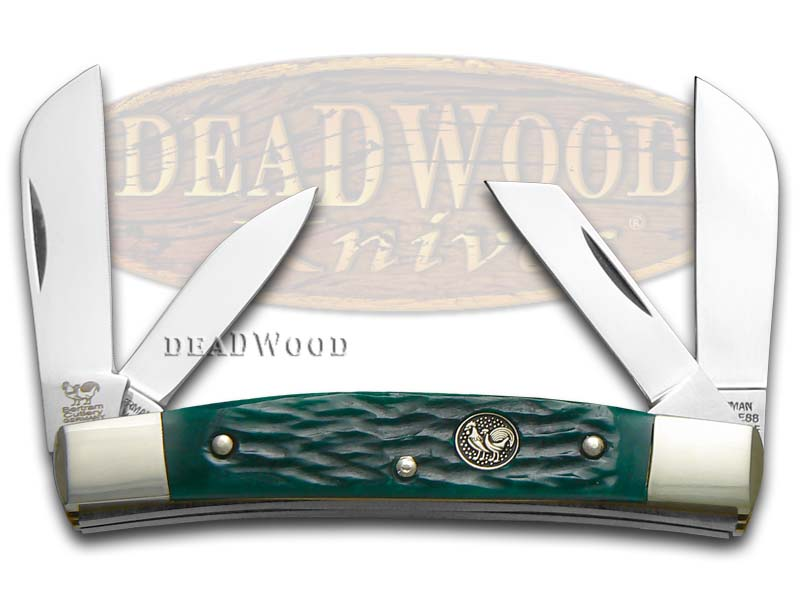 Hen & Rooster Jigged Green Bone Congress Stainless Pocket Knife Knives