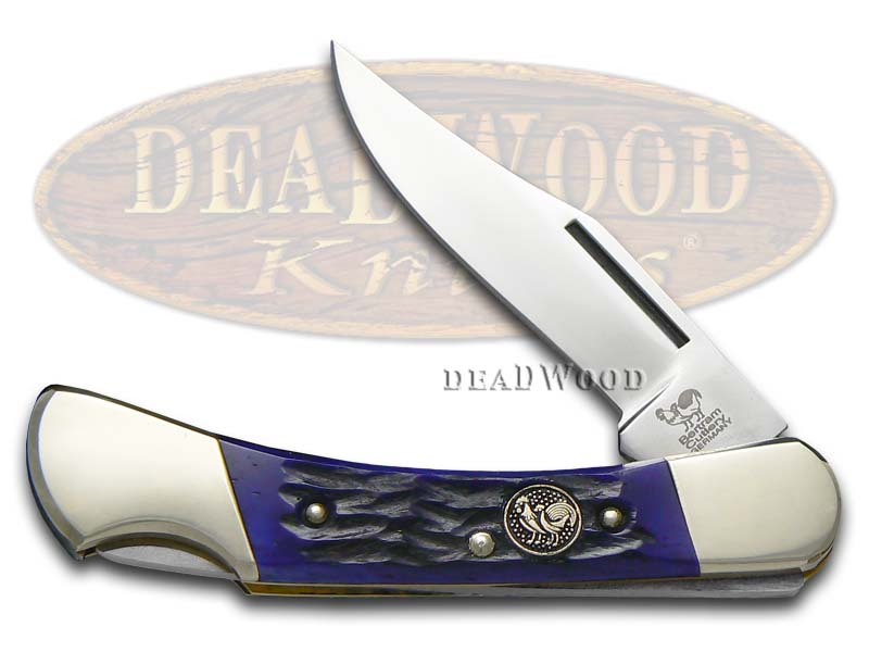 Hen & Rooster Jigged Dark Blue Bone Lockback Stainless Pocket Knife Knives